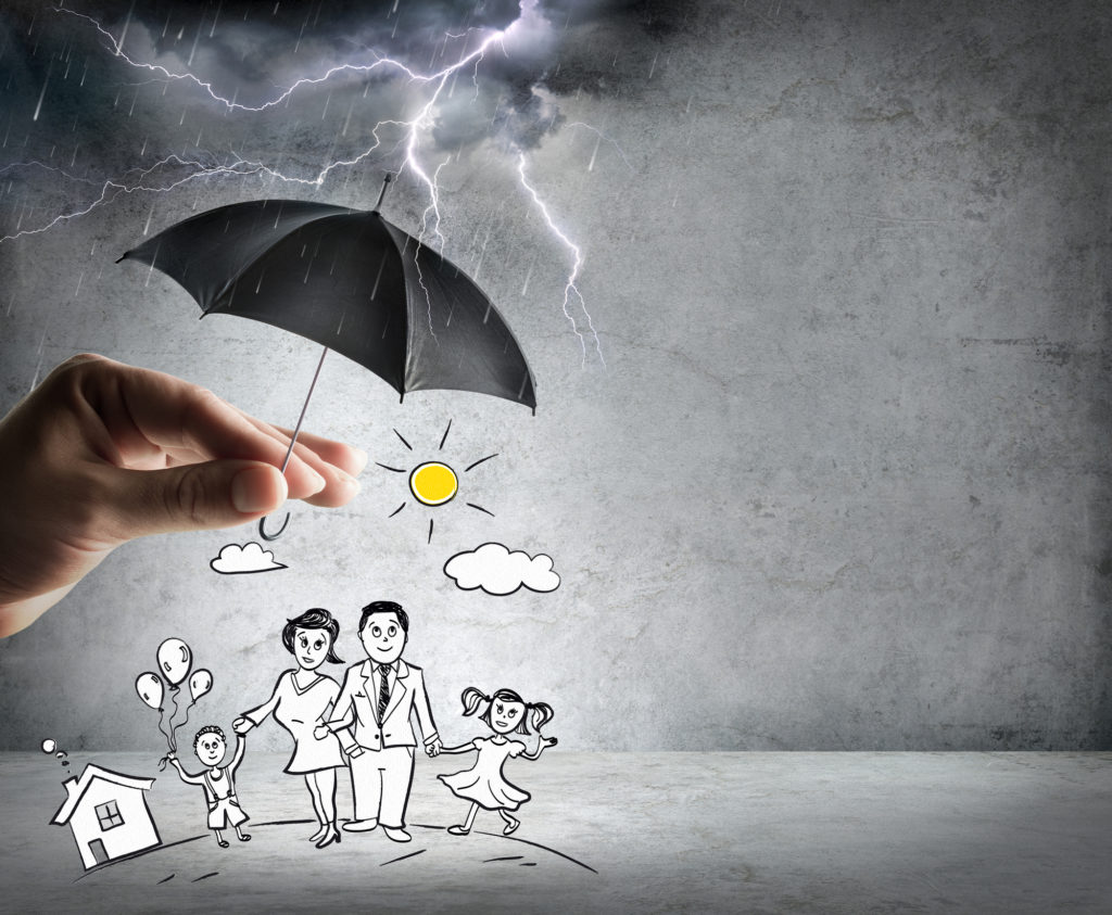 Drawing of a family outside on a stormy day with a hand holding an umbreall over them to keep them safe